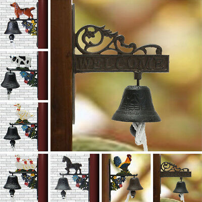 Animal Vintage Rustic Rusted Cast Iron Hanging Wall Mounted Door Bell Home
