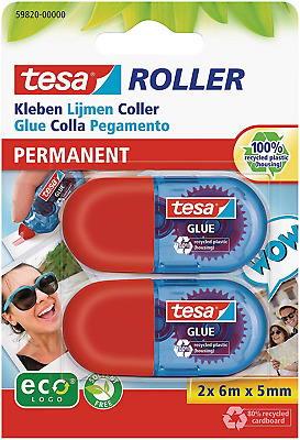 tesa Mini Glue Roller ecoLogo, Permanent Glue for Paper and Card, Pack of 2 -6 m