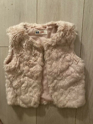 Dusty Pink Fur Gilet Shaggy H&M 6 Years Xmas Smart Towie Chelsea Posh Fit Fancy