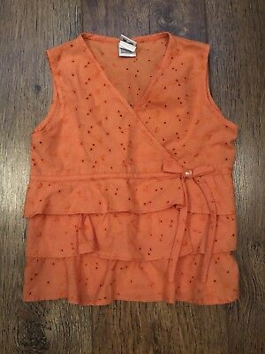 Girls Age 5 Orange Vest Top Summer/Sport/Holiday/Beach/Towie/Gym/School/Pony