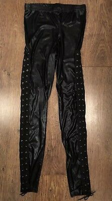 Black Crisscross Leggings 12 Towie Celeb Boho Rock Xmas Steampunk Goth Club