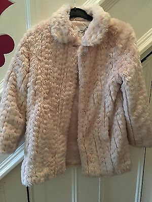 Peach Faux Fur Jacket Sweet Millie Size 10 Xmas Party Winter Rrp £65