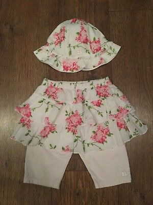 Girls 12-18M  White/Pink Floral Hat & Legging Set Summer/Towie/Frozen/Party/Pony