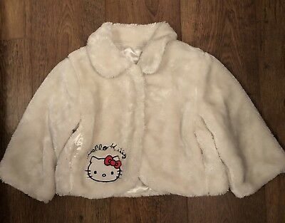 Cream Faux Fur Short Jacket  Girls 7-8 Yrs Hello Kitty Winter Towie Xmas Party