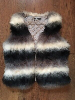 Age 14 White/Grey/Black Stripe Faux Fur Gilet Jacket Party/Winter/Towie/Xmas