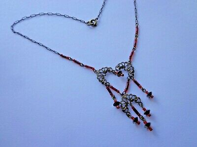 Antique Victorian Red Glass Lavelier Necklace 16'