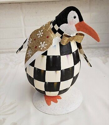 "NEW MacKenzie Childs ADORABLE 7"" Tin COURTLY CHECK JOLLY PENGUIN Seasonal Decor"