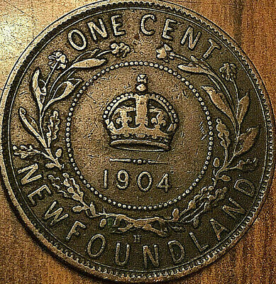 1904H NEWFOUNDLAND LARGE CENT PENNY LARGE 1 CENT COIN - Nicer example!