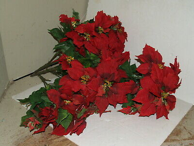 Lot of Artificial Poinsettias - bunches 9 Large and 5 small