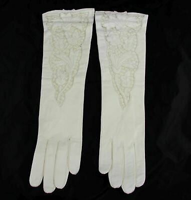 """Vintage White Kid Leather Open Leather Embroidered Gloves 15"""" - Size 7 Unused"""