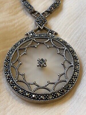 Art Deco Camphor Glass Necklace 1930s Sterling Marcastes Antique Filigree