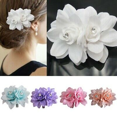 Flower Bead Corsage Hair Clips Fascinator Hairband & Pin Bridal Wedding Party UK