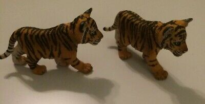 Schleich Wild Life Tiger Cub Animal Figure Lot Of Two Walking