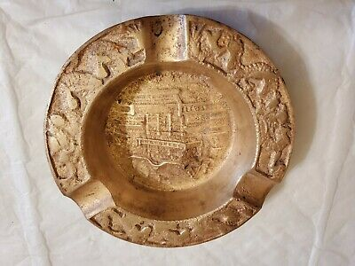 Vintage Solid Brass Ashtray ~ Embossed Scene ~ Chinese ~ Asian.  4.30""