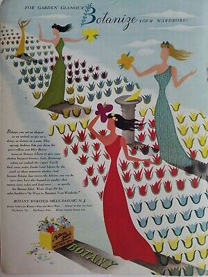 1941 Botany worsted Mills fabric Garden glamour graphic art vintage ad
