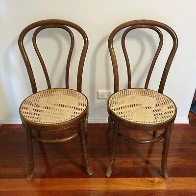 Set of Bentwood Chairs woven Seats Thonet style with cusions