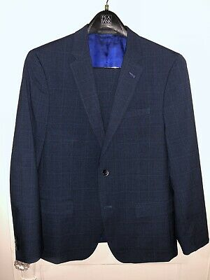 Ben Sherman Men's Slim Fit 2 Button Suit - Navy Glenplaid - 42R, 36W/32L