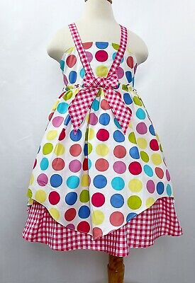 JELLY THE PUG Girls Multi-Color Polka Dot Red Gingham Spring Summer Dress NWT 5