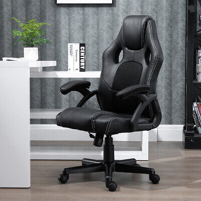 Black Executive Racing Gaming Office Chair Swivel Computer Chair PU Leather Home
