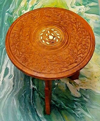 Vintage Made in India - Sheesham wood hand carved table, bone inlay 9 x 9 high