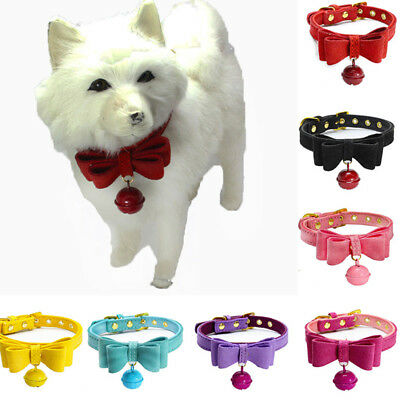 Kitten Collar Bow Tie Neck Leather Puppies Pet Cat Puppy Dog Practical New