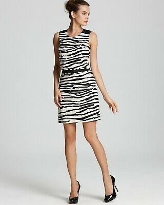 Hugo Boss Women Black Ivory Dava 2 Zebra Dress sz 2 $595.00