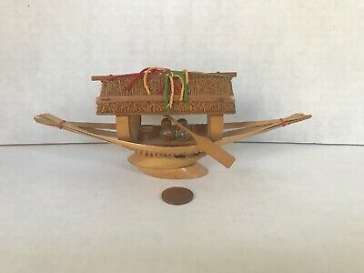 Handmade Asian Art  wicker Boat Carved Home Decor Collectible paddle small