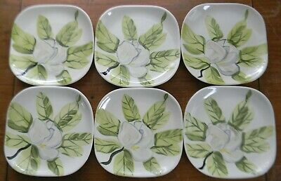 """6 Vintage Red Wing Pottery MAGNOLIA 6.25"""" BREAD & BUTTER PLATES Chartreuse Green"""