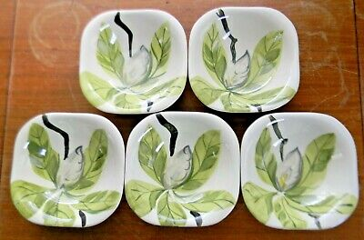 """5 Vintage Red Wing Pottery MAGNOLIA 5.25"""" FRUIT & DESSERT BOWLS Chartreuse Green"""