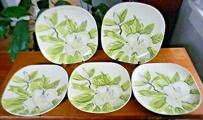 """5 Vintage Red Wing Pottery MAGNOLIA 10.5"""" DINNER PLATES Chartreuse Green NICE!"""