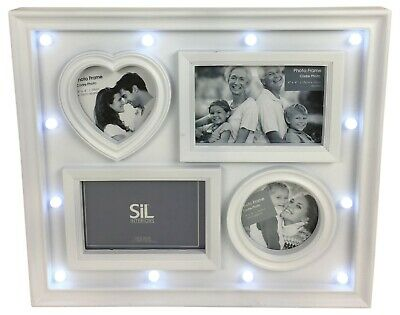 "Christmas Navy /& Silver LED Light up Forest Scene 5/"" x 7/"" Photo Frame 17x22x5cm"