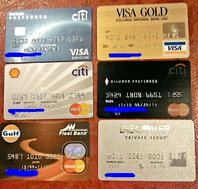 Vintage Collectible Credit Cards ~ Lot Of 6 Different Visa, Mastercard Incl Chip