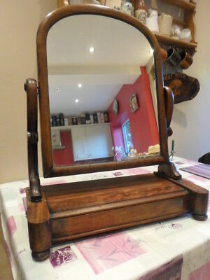 Large mid Victorian mahogany swing mirror, arched top, lift up jewellery box