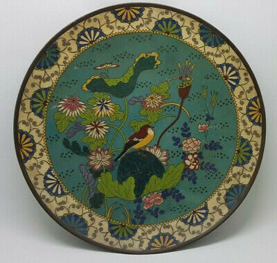 Beautiful Antique Chinese Cloisonne Large Plate With Bird & Lotus Qin Dynasty