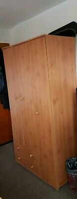 3 Door Wooden Wardrobe Single And Double With 2 Drawers