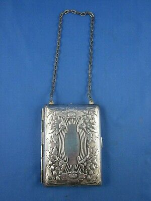 Antique Silverplate Coin Compact Dance Purse Repousse