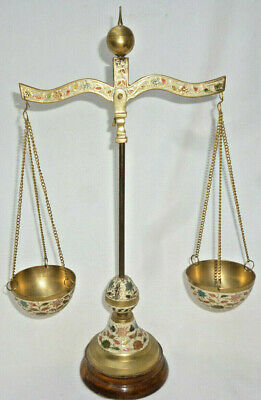 VINTAGE BRASS CLOISONNE ORNAMENTAL SCALES - very good condition - 37cm high