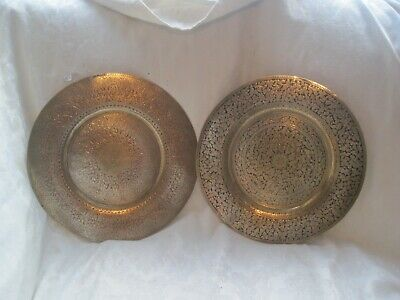 Pair of SOLID BRASS Antique TRAYS with RED and BLACK Enamel Antique VINTAGE