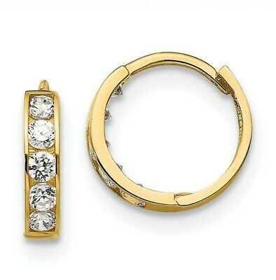 14k Yellow Gold 0.5IN Long Childrens Hinged Synthetic CZ Hoop Earrings