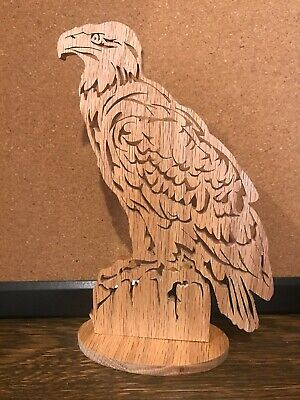 """Intricate Detailed Hand Cut Wood 8"""" American Bald Eagle Scroll Saw Sculpture"""