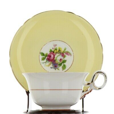 Shelley Bone China Tea Cup and Saucer Broad Band Yellow