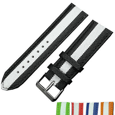 New Stripe 18mm Nylon Fabric Canvas Watch Strap Band Sports Military Army