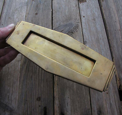 Antique Art Deco Brass Letter Box Plate / Door Mail Slot Mailbox