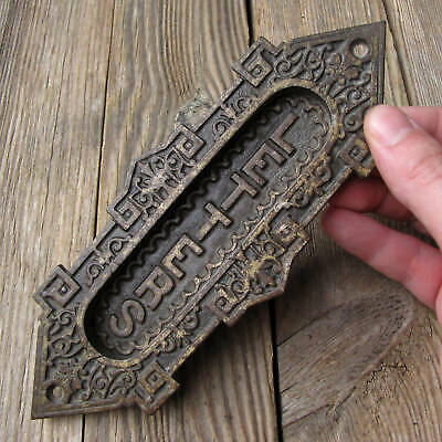 Antique Victorian Vertical Cast Iron Letter Box Plate / Door Mail Slot / Mailbox