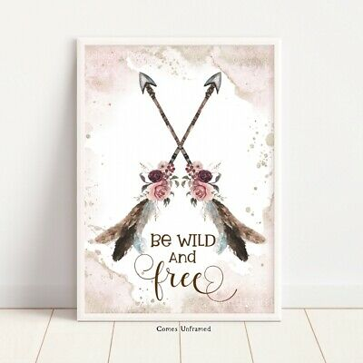 Boho Dream Catcher Wall Art Print Free & Wild Quote Nursery Picture Feathers