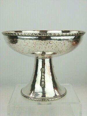 A Rare A E Jones Arts & Crafts Silvered Copper Pedestal Bowl.
