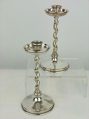 "A Rare Pair of A E Jones Silvered Copper Arts Crafts ""Barley Twist"" Candlesticks"