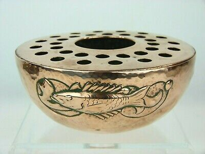 A Stunning Newlyn Arts & Crafts Copper Rose Bowl- Fish in Seaweed Design