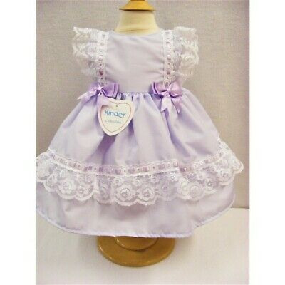 NEW Kinder Baby Girls Spanish Style Romany Lilac Lace & Bows Frilly Dress Outfit