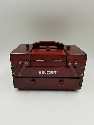 Vintage Red Wood Singer Fold Out Accordion Sewing Box Drawers Part W/ Thread